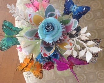 Butterfly Bouquet Plus Origami Paper Flowers