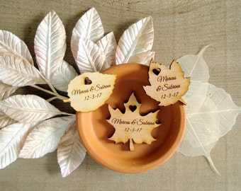 Wood Leaf Wedding Favors Personalized Set of 250 Wood Leaves Custom Engraved