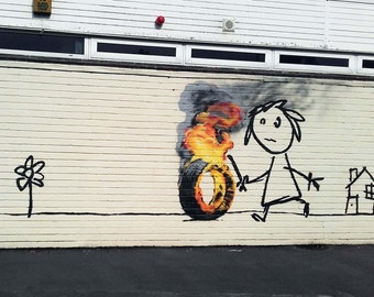 Banksy Canvas (READY TO HANG) - Burning Tire - Multiple Canvas Sizes