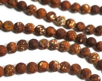 6mm Matte Tibetan Wood Agate Beads, Woodgrain round gemstone, full & half strands available  (1226S)