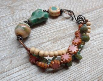 Multi strand Pink  Bird Bracelet