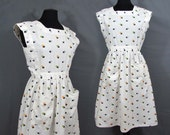Dotted Sundress - multi-color dots on white - semi full skirt - M-L - 1960s
