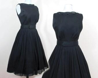 Vintage Black Cocktail Dress - Nylon Chiffon over satin - 1950s - Med