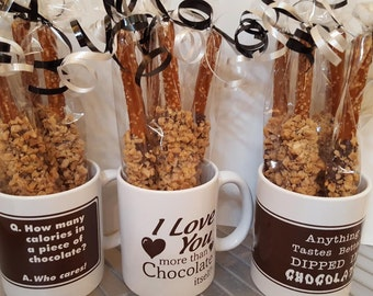 Pretzels, Toffee Pretzels, Toffee, Pretzels, Chocolate Mug, Chocolate, Valentine Gifts, Hostess Gift, Gifts for Her, Gifts for Him