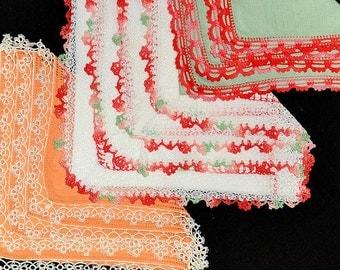 Assortment Vintage Hankies Linen with Lace Edges Crochet Tatting Machine Lace Hem Stitched, Mint Green Salmon White Excellent Condition