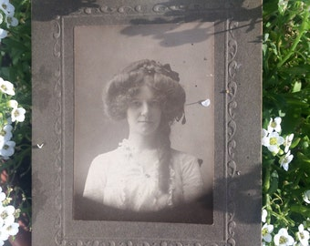 Antique Photo - Woman with Interesting Hairstyle - Old Photo - Long Hair