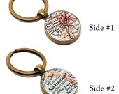 Double Sided Custom Vintage Map Keychain. You Select Two Cities Worldwide. Two Location Keychain. Two City Keychain. Front And Back Keychain