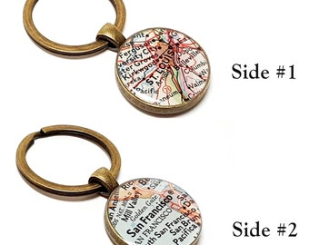 Double Sided Custom Vintage Map Keychain. You Pick Any One or Two Cities Worldwide Or Add a Personalized Quote, Names, Dates, Photos.