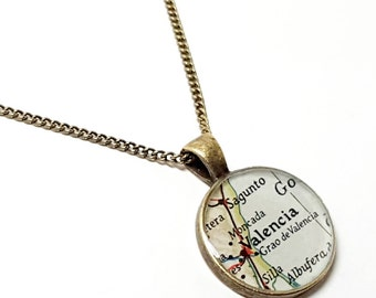Valencia Map Necklace. Valencia Necklace. Made With A Vintage 1964 Map. Ready To Ship. Spain Map Pendant. Travel Jewelry Gifts For Women.