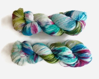 "Hand dyed lace BFL yarn - Superwash Bluefaced Leicester wool, Tea Time base - Colour ""Anarchy Summer 1"""