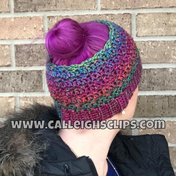 Messy Bun/Ponytail Hat - Rainbow or Solids