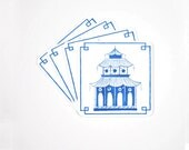 Drink Coasters - Blue Pagoda Chinoiserie Coaster Set - Unique Gift for Hostess - Housewarming Gift - Bar Accessories and Tools