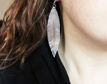 Silver Leather Feather Earrings, feather earrings, leather feathers