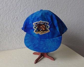 Joe Camel Dark Blue Tye-Dye Cap with Joe Camel Smooth Character Logo, One Size Fits All. Never Worn.