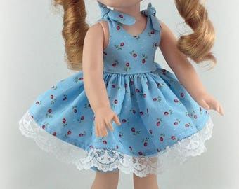 14.5 inch Doll Clothes -Blue Sundress fits Dolls Like Wellie wishers