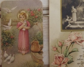 Lot of Beautiful French Holy prayer Cards Bible bookmarks 1920s Doves of Peace