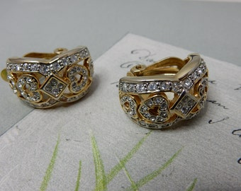 Rhinestone Heart Gold Clip On Half Hoop Earrings    OG14