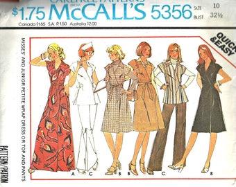 McCalls 5356 Nurse Uniform Sewing Pattern Wrap Dress and Wide Leg Pant Size 10 Vintage 1970's