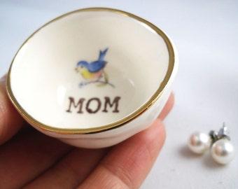HANDMADE custom gift for mom, blue bird ring holder for mom, jewelry dish gift for her, gift from children, new mom gift, first time mom