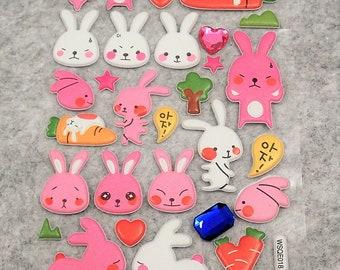 Mixed Cute Puffy Rhinestones Rabbit Stickers