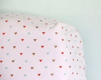 Mint, Coral, Gold Triangle Print Crib Sheet- Ready to be Shipped