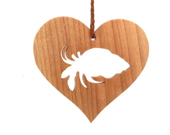 Hermit Crab Ornament, Wood Heart Shaped Exotic Pet Ornament, Christmas Crab, Christmas Pet Hermit Crab Decoration, Maple