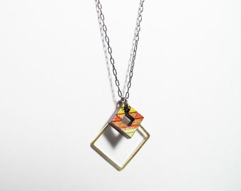 Tribal Necklace, Small,  Green and Red with Brass Square
