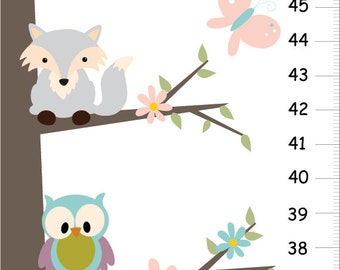 Personalized growth chart, Woodland fox and owls nursery - Children Growth Chart - woodland forest friends height chart