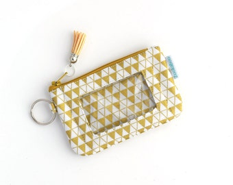 ID Holder Keychain Wallet - Gold Wallet - Mini Wallet - Zipper Coin Pouch - Handmade by Zookaboo - Ready to Ship