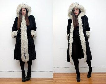 Vintage Real Mongolian Lamb Fur Real Black Fur Tibetan Hood Jacket Coat 70's RARE