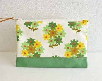 Retro floral fabric zipper pouch with medium weight cotton in green - cosmetic pouch, pen case, zip closure