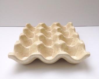 Ceramic Egg Crate - Pottery Egg Carton - Speckled Beige