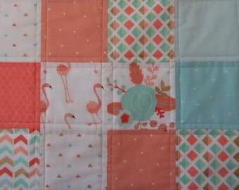 Baby quilt, Coral and Aqua and Metalic Gold, Roses, Flamingos
