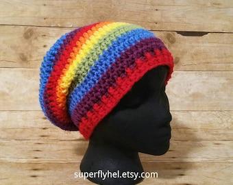 Rainbow Beanie, Rainbow Striped Slouchy Hat, Bright Rainbow Hat, Ombre Rainbow Hat, LGBT LGBTQ Gay Pride Rainbow Pride, Hipster Beanie