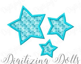 Stars Applique Machine Embroidery Design 4x4 4x4 5x7 7x7 8x8 INSTANT DOWNLOAD