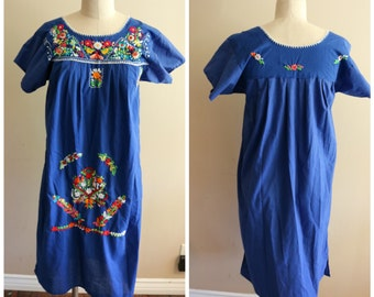 Blue Mexican Embroidered Folk Dress - Size Medium - Loose Fit - Boho - Festival - Ethnic