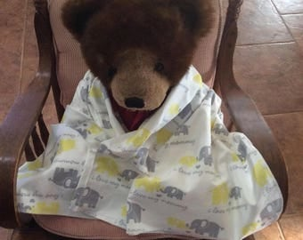 Baby Toddler Receiving Flannel Blanket Gray Yellow Elephants I Love Mommy