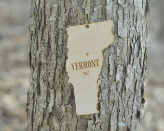 Natural Wood Vermont State Ornament WITH 2017