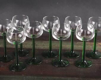 Arcoroc Luminarc Wine Glasses with Emerald Green Stems, France