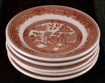 Ye Olde Willow, Brown Transferware Plates, Wallace China