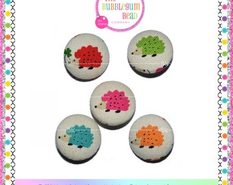"""7/8"""" ASSORTED HEDGEHOG Kawaii Covered Button, Sewing Notion, Buttons, Hedgehog Theme Buttons, Whimsical Buttons, Fabric Covered Shank Button"""