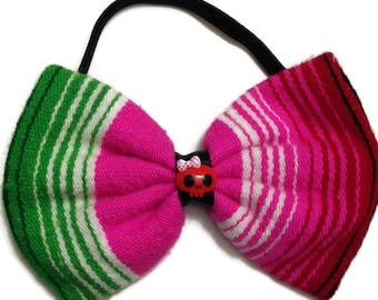 Multi Colored Mexican Serape Mexican Blanket Bow Elastic Headband With Red Skull