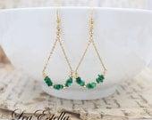 CLEARANCE SALE!! Emerald Green earrings Malachite earrings Green Gemstone earrings Green Chandelier Earrings Emerald Teardrop earring - Pine