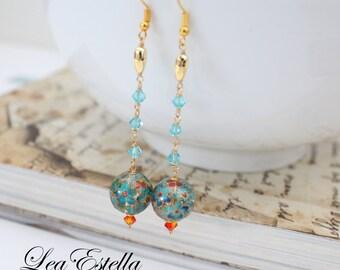 Floral Tensha Earrings Blue Swarovski Crystal Earrings Chinese Oriental Earrings Summer earrings Lunar New Year jewelry - Summer Colours