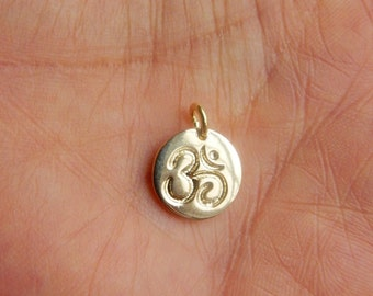 Gold vermeil , round  om charm, yoga necklace charm, om pendant (12mm), .925 plated sterling silver