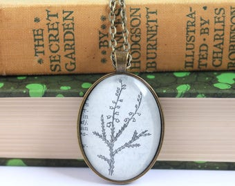 dictionary necklace - book page jewelry  - gardener necklace - Mother's Day gift - wildflower necklace - Heather personalized name necklace