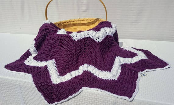 Plum wine and white hand crochet twelve point star lapghan, wheel afghan, housewarming gift - READY TO SHIP