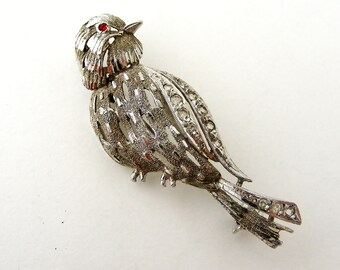 Vintage French rhodium plated silver bird brooch