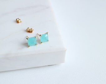 Aquamarine square glass stud earrings, Pacific blue opal stud earrings, Ice berg stud earrings, Aqua stud earrings