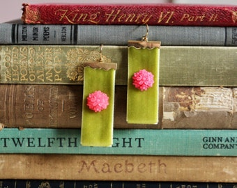 Spring green velvet earrings with bright pink chrysanthemums, Garden State Drive
